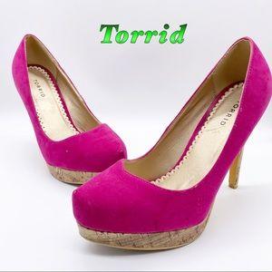 Torrid-Magenta Platform cork high heel 10
